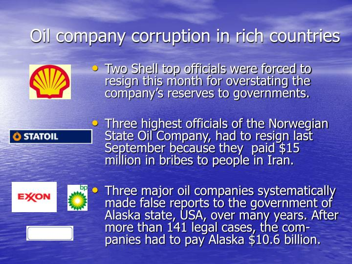 Oil company corruption in rich countries