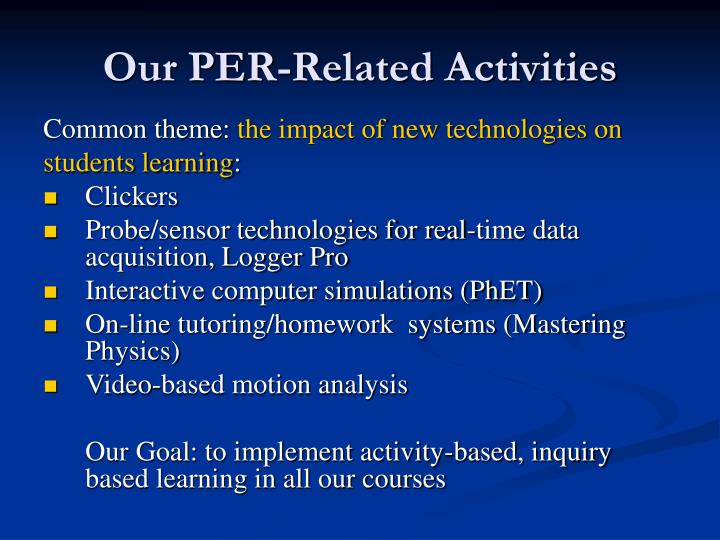 Our PER-Related Activities