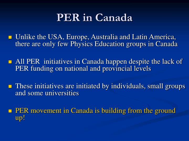 PER in Canada