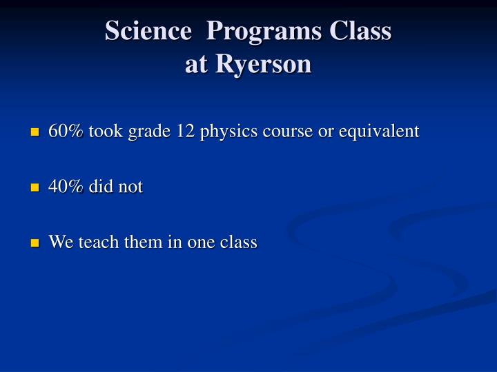 Science  Programs Class