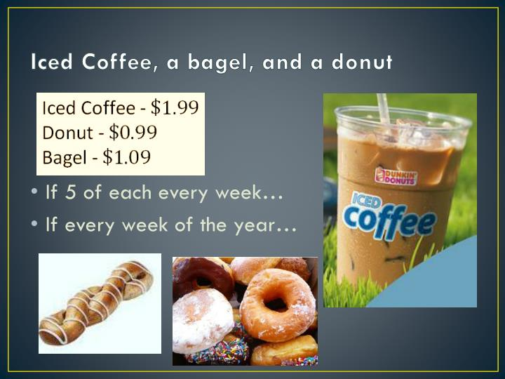 Iced Coffee, a bagel, and a donut