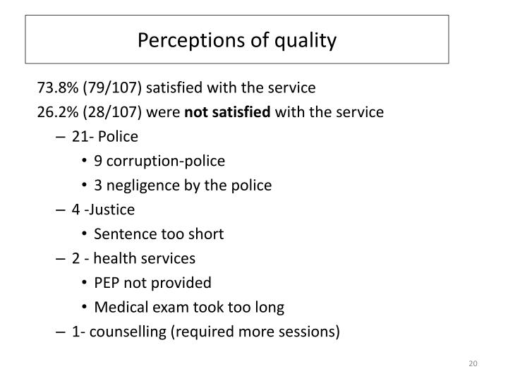 Perceptions of quality