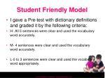 student friendly model
