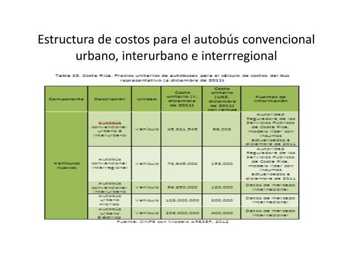 Estructura de costos para el autobús convencional urbano, interurbano e