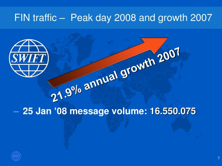FIN traffic –  Peak day 2008 and growth 2007