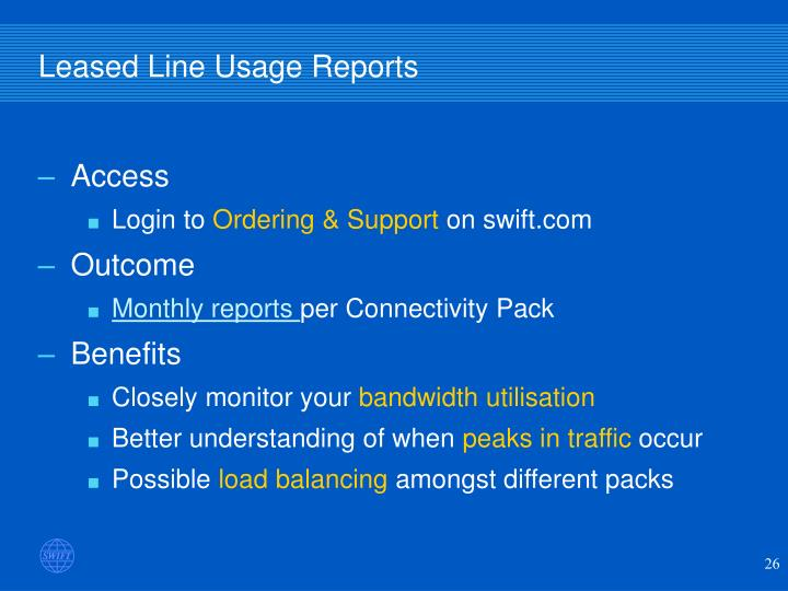 Leased Line Usage Reports