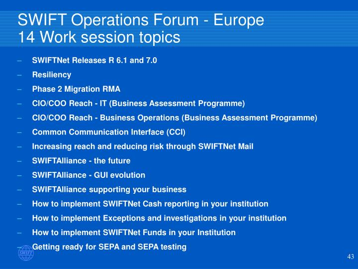 SWIFT Operations Forum - Europe