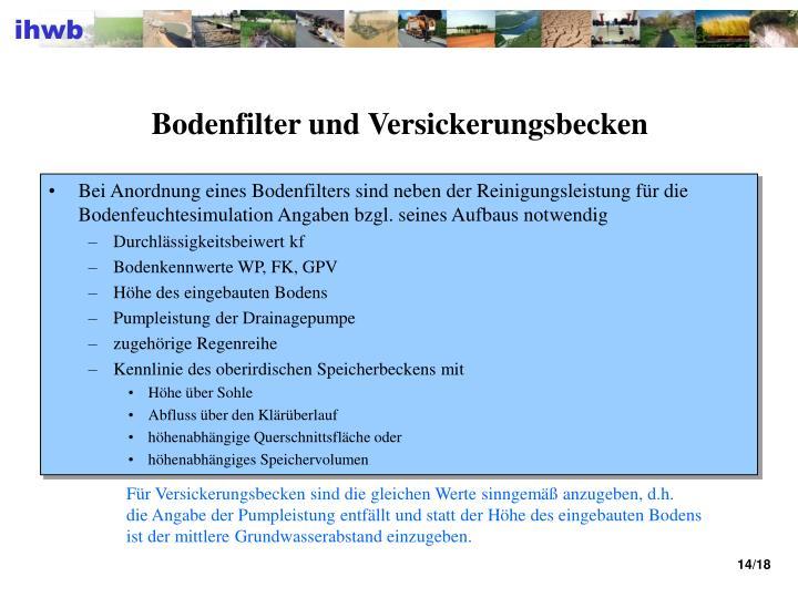 Bodenfilter und Versickerungsbecken