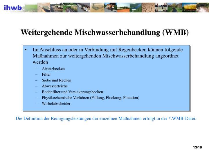 Weitergehende Mischwasserbehandlung (WMB)