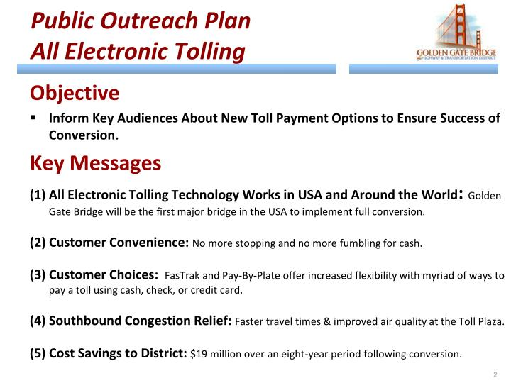 Public outreach plan all electronic tolling