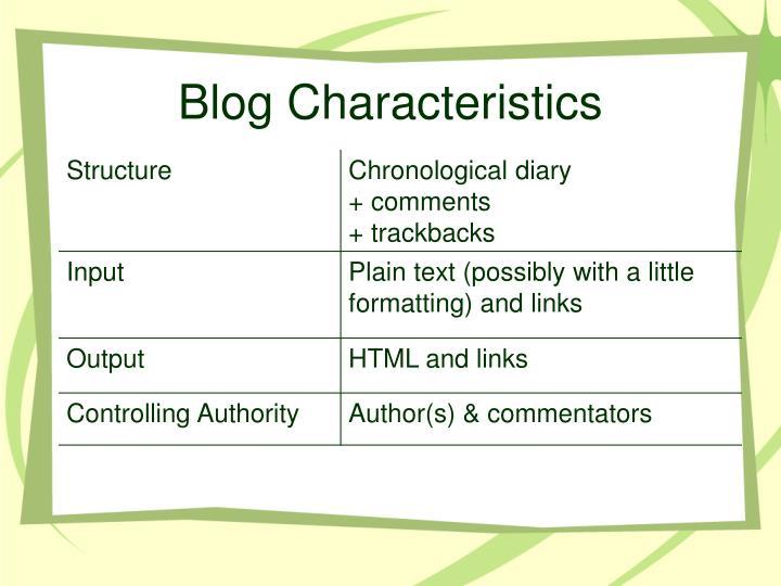 Blog Characteristics