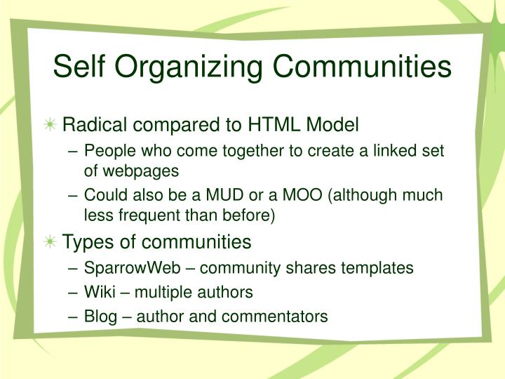 Self Organizing Communities