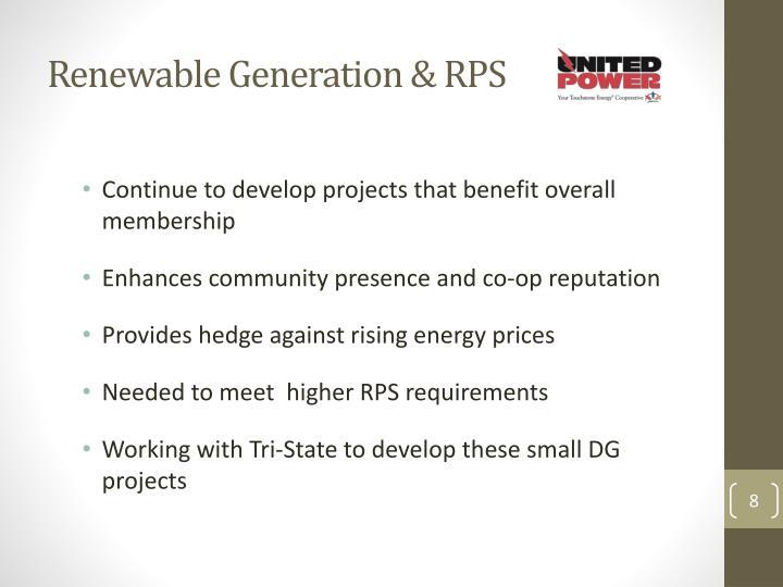 Renewable Generation & RPS