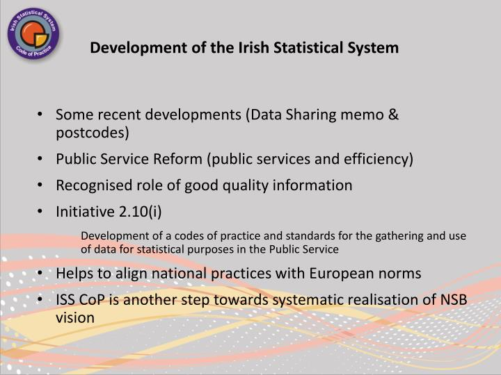 Development of the Irish Statistical System
