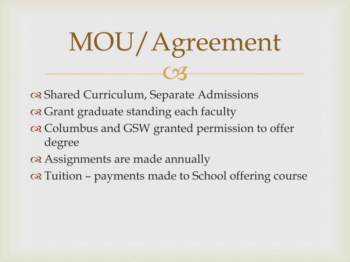 MOU/Agreement