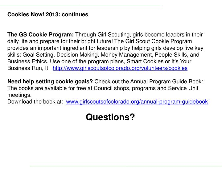 Cookies Now! 2013: continues
