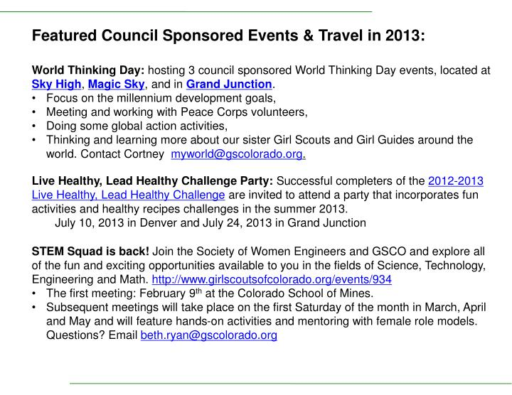 Featured Council Sponsored Events & Travel in 2013