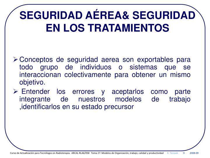 SEGURIDAD AÉREA& SEGURIDAD EN LOS TRATAMIENTOS