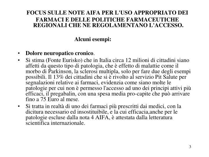 FOCUS SULLE NOTE AIFA PER L'USO APPROPRIATO DEI