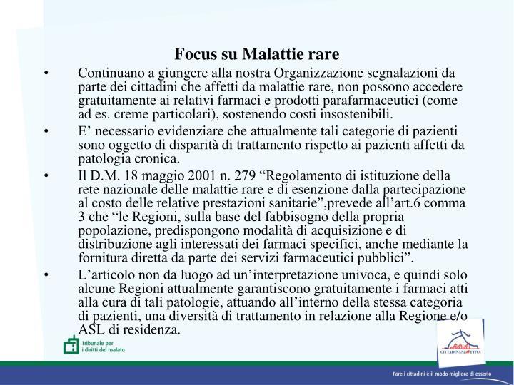 Focus su Malattie rare