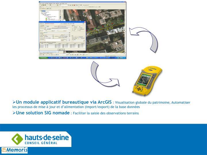 Un module applicatif bureautique via ArcGIS