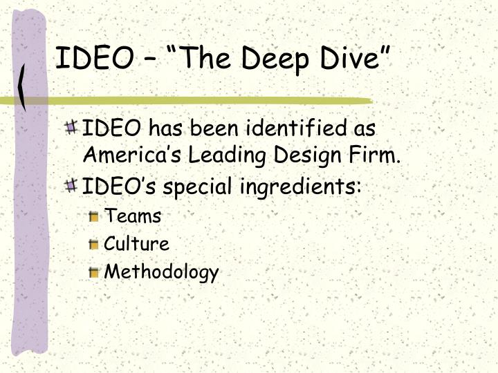 "IDEO – ""The Deep Dive"""