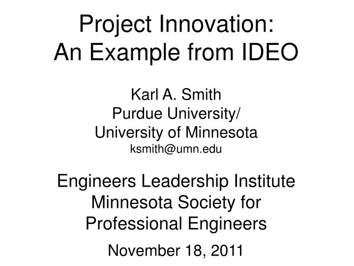 Project Innovation:
