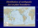 distribution of earthquake foci at plate boundaries