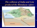 the collision of india and asia produced the himalayas after