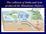 the collision of india and asia produced the himalayas before