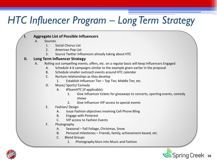 HTC Influencer Program – Long Term Strategy