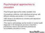 psychological approaches to cessation