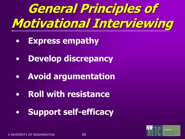 General Principles of Motivational Interviewing