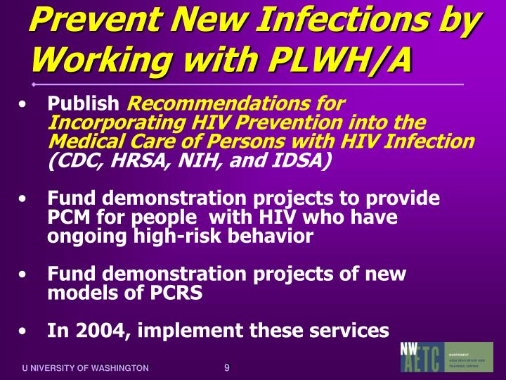 Prevent New Infections by Working with PLWH/A