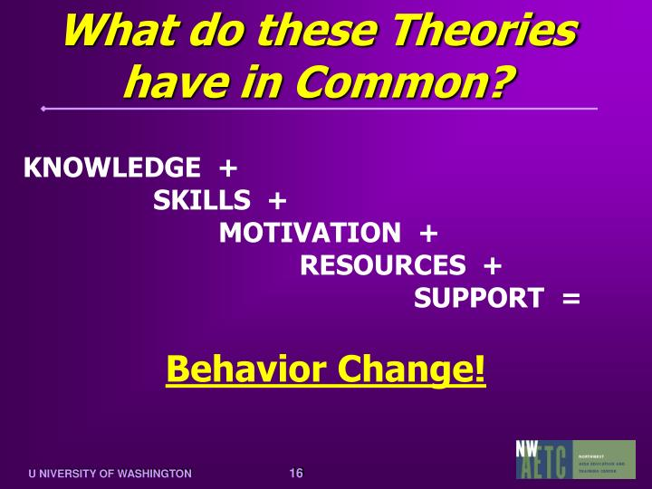 What do these Theories have in Common?