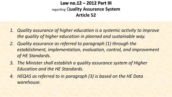 Law no.12 – 2012 Part III