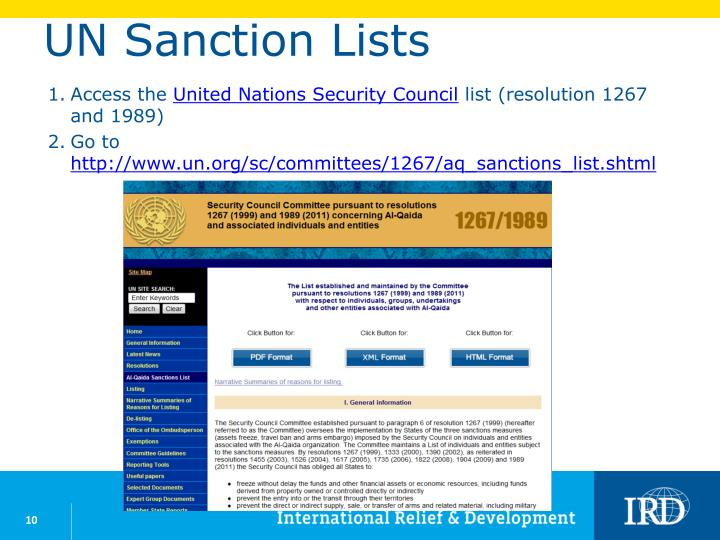 UN Sanction Lists