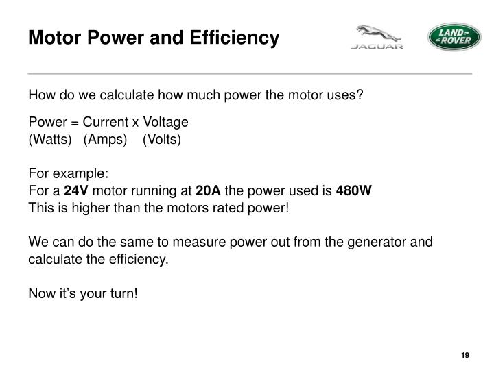 Motor Power and Efficiency