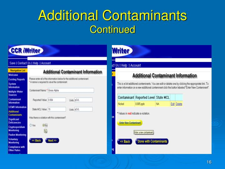 Additional Contaminants