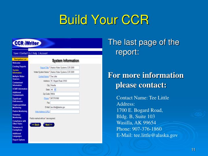 Build Your CCR