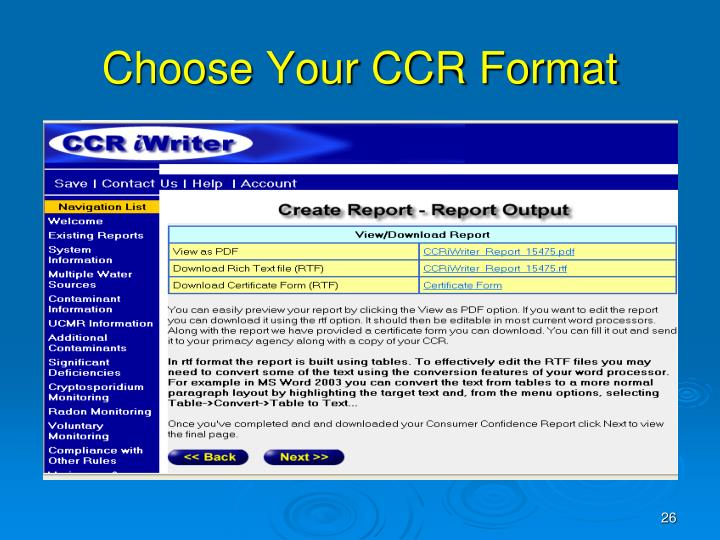 Choose Your CCR Format