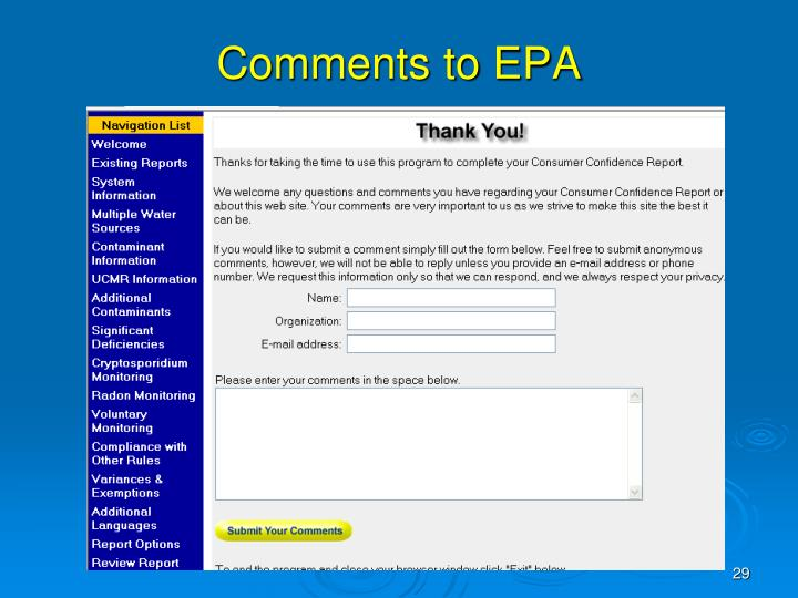 Comments to EPA