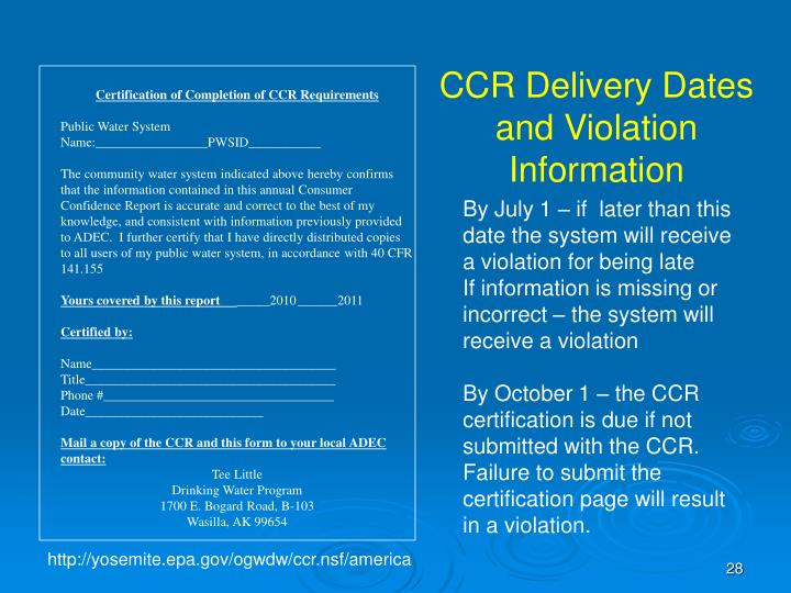 CCR Delivery Dates and Violation Information
