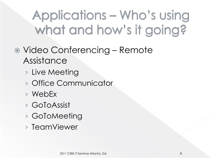 Applications – Who's using what and how's it going?