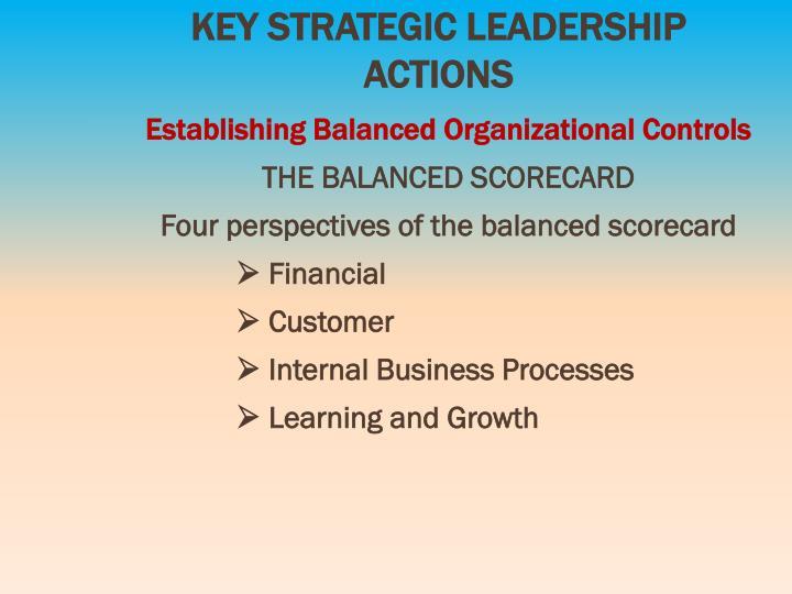 KEY STRATEGIC LEADERSHIP ACTIONS