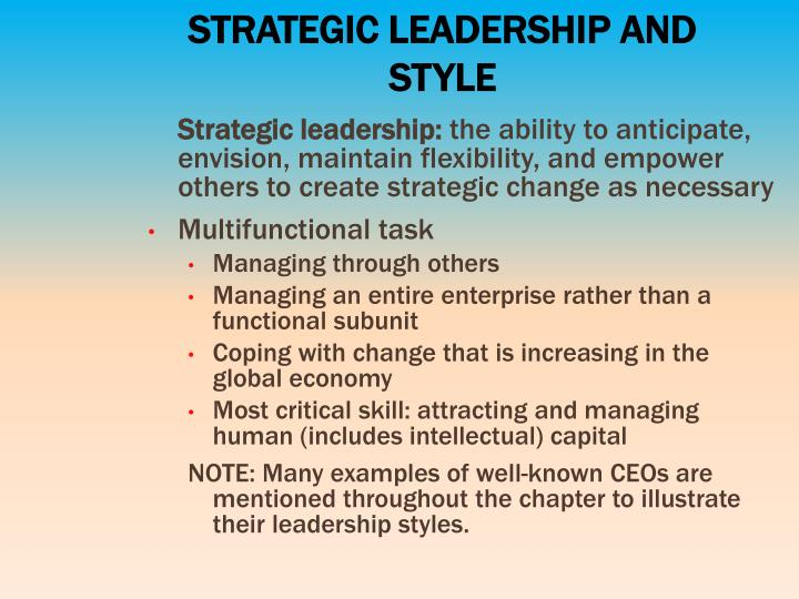 STRATEGIC LEADERSHIP AND STYLE