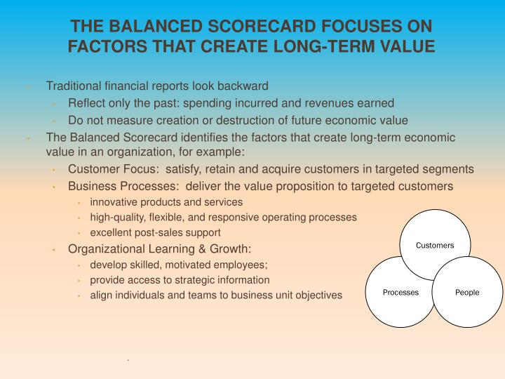 The Balanced Scorecard Focuses on Factors that Create Long-Term Value