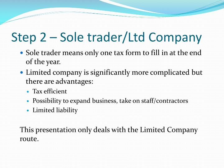 Step 2 – Sole trader/Ltd Company