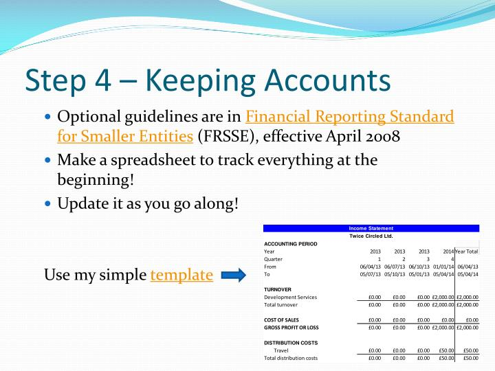 Step 4 – Keeping Accounts