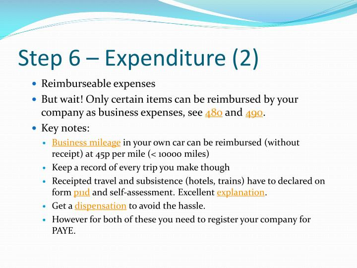 Step 6 – Expenditure (2)